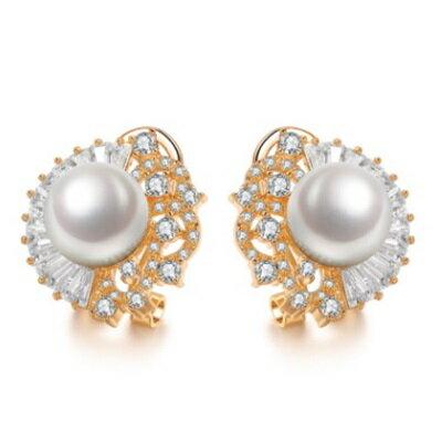 ~純銀耳環鍍白金鑲鑽耳飾~ 亮麗晚宴婚禮生日情人節 女飾品2色73cr311~ ~~米蘭