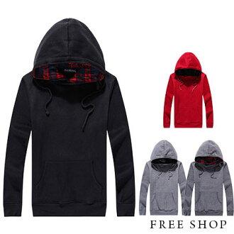 《全店399免運》Free Shop【QM2832】日韓系內裡格紋拼布設計保暖厚棉刷毛立領連帽長袖上衣帽T‧四色