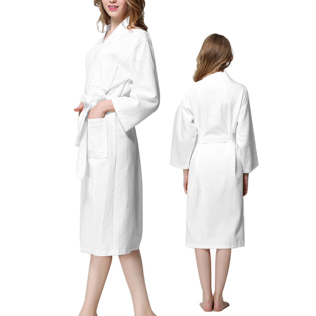 b022bcb34b Lady Cotton Waffle Kimono Bathrobe Spa Robe Knee-length Sleepwear White XXL  0