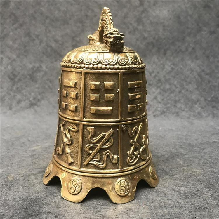 開光純銅銅鐘擺件八卦鐘八寶銅鈴鐺風水銅器鎮宅辟邪化煞金屬擺設