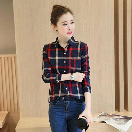 棉麻格子襯衫 (格子加絨,S~2XL) - ORead 自由風格 - 限時優惠好康折扣