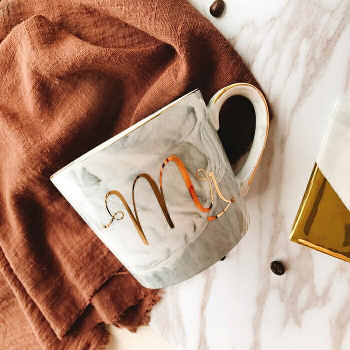 創意大理石紋陶瓷杯歐式金邊馬克杯辦公水杯子男女情侶咖啡杯禮物 秋冬新品特惠