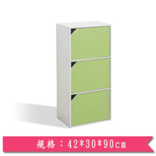 馬卡龍環保三門收納櫃-綠(42*30*90cm)【愛買】