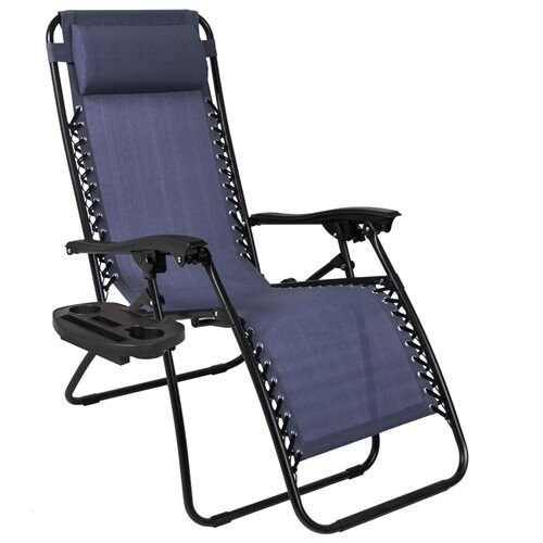 Best Choice Products Set Of 2 Zero Gravity Chairs W Cup Holders Navy Blue