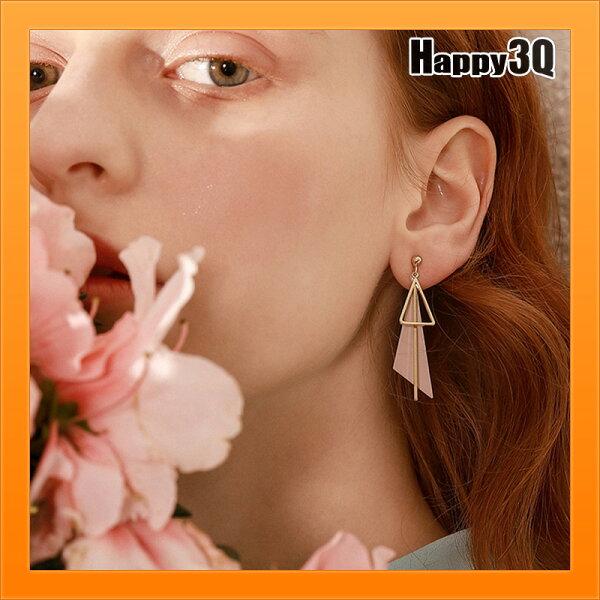 吊飾耳環幾何造型簡約飾品女生飾品耳墜首飾個性日韓風雜誌感-白粉【AAA4348】