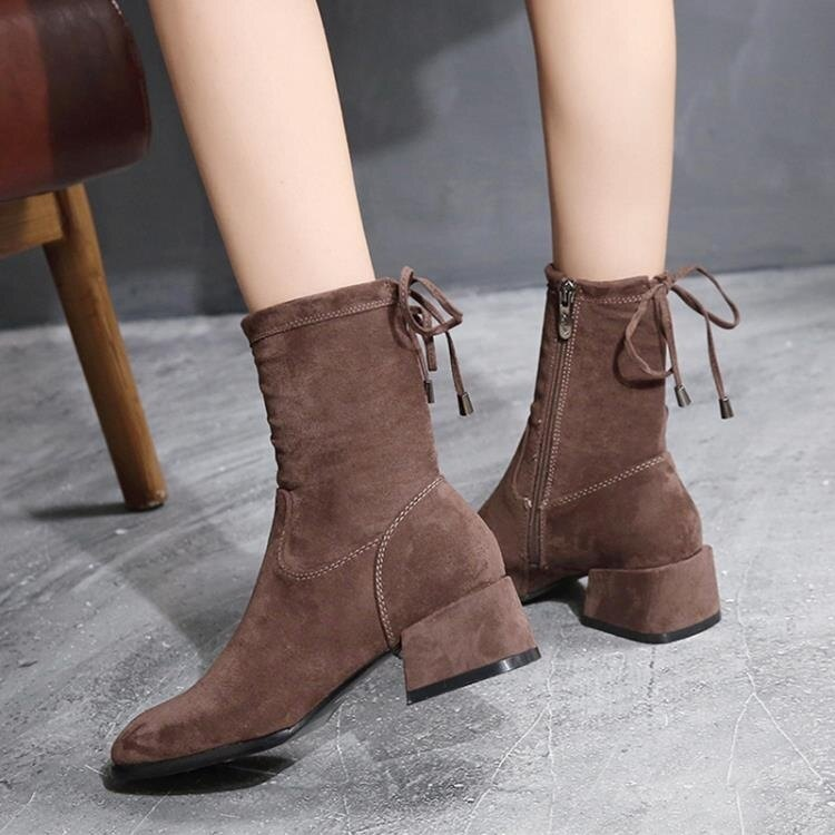 新款女靴中筒靴顯瘦中粗跟彈力短靴馬丁靴網紅女鞋踝靴子  全館免運