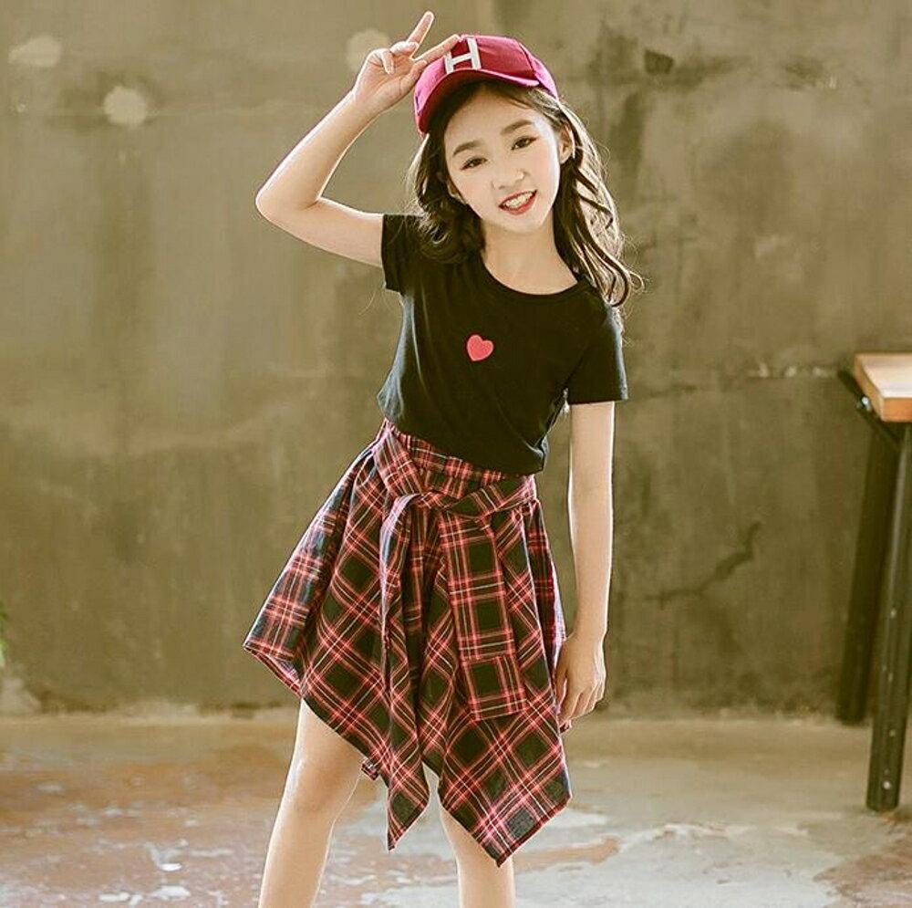 女童裝 女童夏裝2019新款兒童裝洋氣套裝裙夏季大童時髦女孩12歲10潮衣服