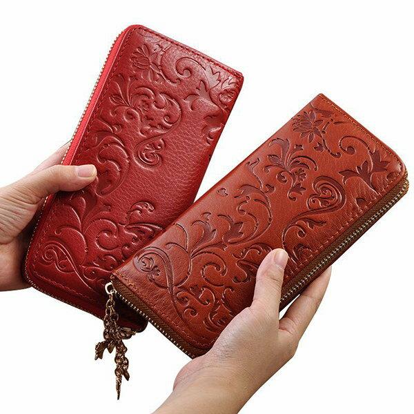 BOBI:長夾花紋皮多功能拉鍊卡包錢包手拿包長夾【CL60017_3】BOBI0104