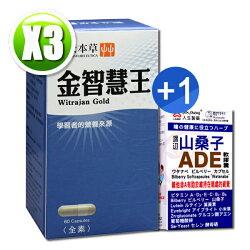 順天本草金智慧王膠囊(60顆/盒)x3 送【人生製藥 渡邊山桑子ADE軟膠囊(50錠)x1(送完為止)】