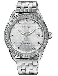 Citizen 星辰 Eco-Drive 光動能 璀璨晶圈氣質銀時尚腕錶 FE6111-87A 36mm