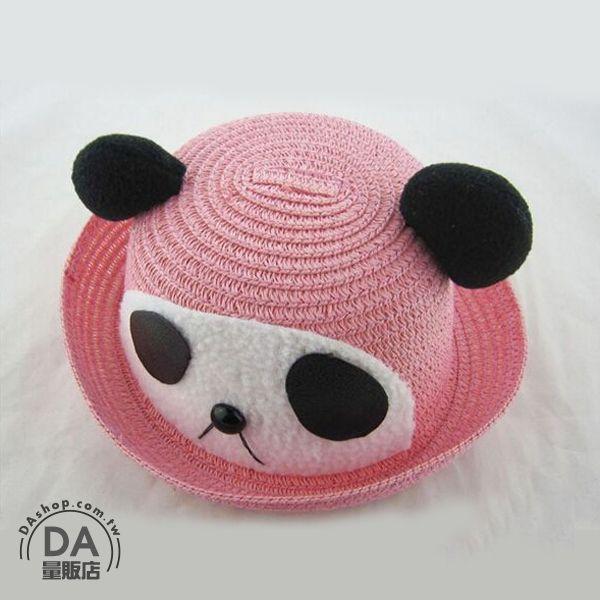 《DA量販店》樂天最低價 韓版 兒童 卡通 造型 草帽 遮陽帽 沙灘帽 粉色 熊貓款(V50-0330)