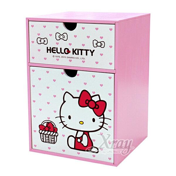 X射線【C525071】HelloKitty直式兩抽置物盒,置物櫃收納櫃收納盒抽屜收納盒木製櫃木製收納櫃收納箱桌上收納盒