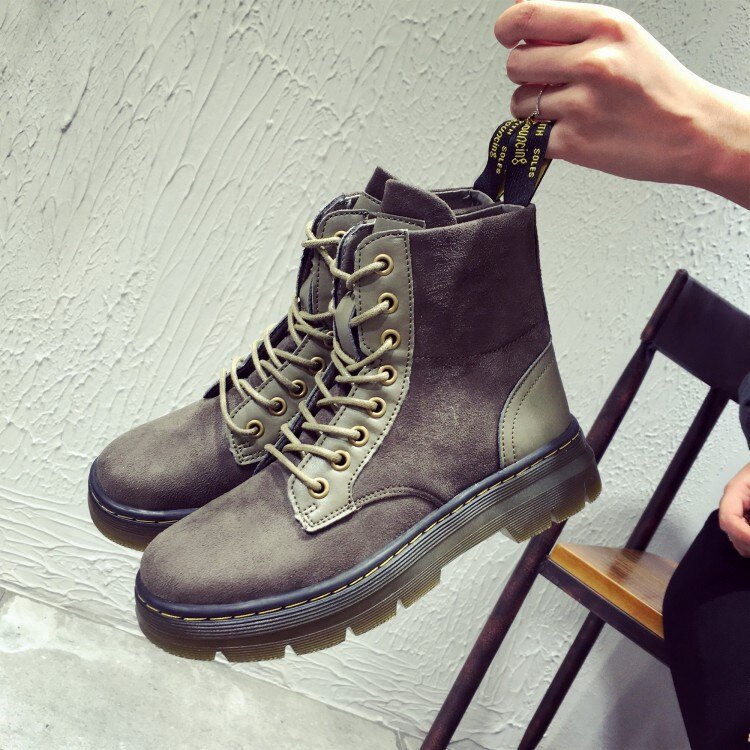 馬丁靴女靴英倫風平底短靴 復古短筒綁帶女靴厚底女鞋軍靴騎士靴異 拼接 師款