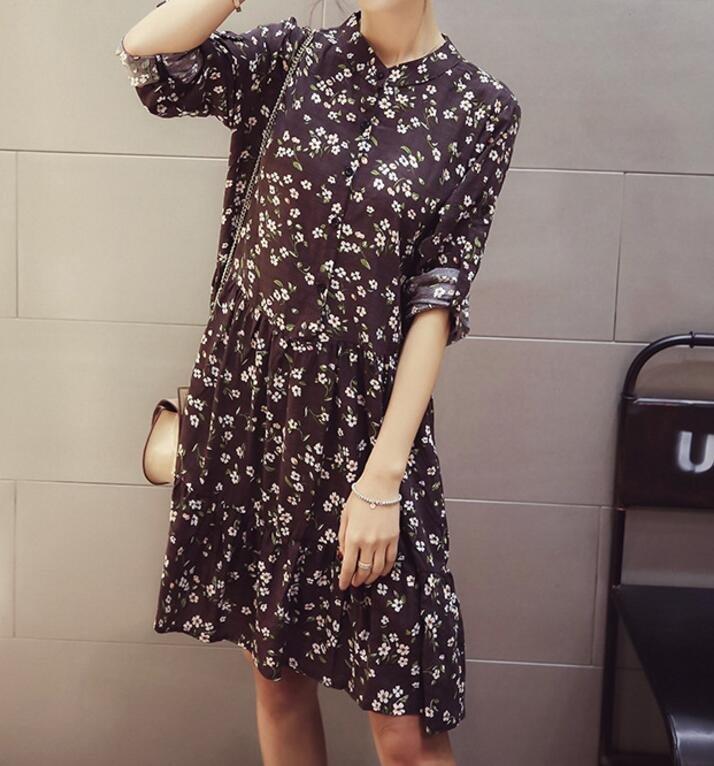 FINDSENSE MD 韓國時尚 女 甜美 百搭 小清新 小碎花 寬鬆 立領 連身裙 打底裙