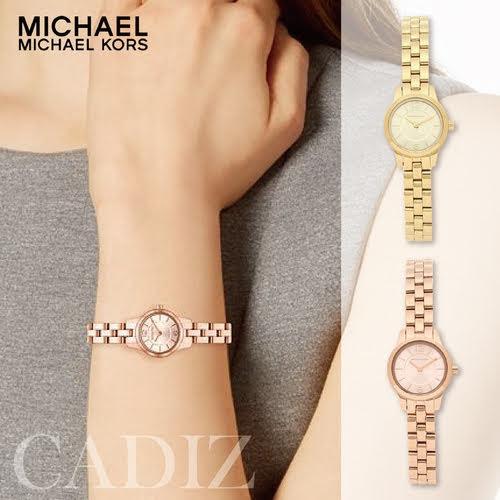 預購 美國正品 Michael Kors 金色玫瑰金不鏽鋼氣質手錶 PetiteWatch MK6592 MK6593