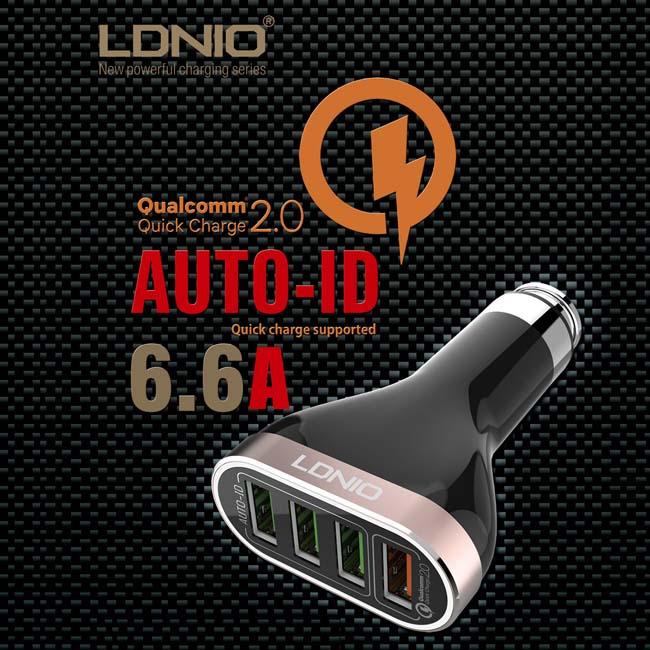 LDNIO 快速QC2.0 車充 6.6A 4口 20712