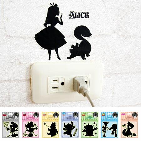 正版 迪士尼夜光剪影造型貼 壁貼 開關裝飾貼 開關貼 米奇 米妮 維尼 玩具總動員 史迪奇 公主【N102286】
