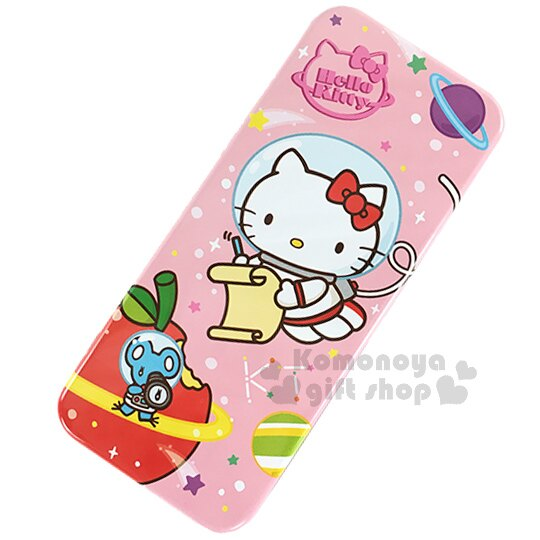 〔小禮堂〕Hello Kitty 鐵製雙層筆盒《粉.太空裝.蘋果.星球》增添學童學習樂趣