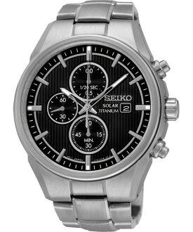 Seiko V176-0AF0D(SSC367P1)鈦金屬太陽能計時腕錶/黑面41mm