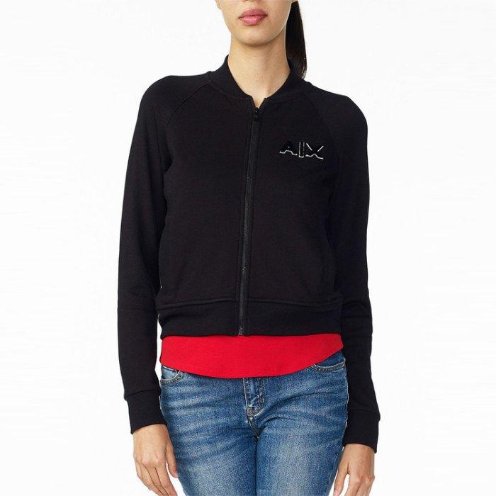 美國百分百【全新真品】Armani Exchange 棉質 立領 外套 夾克 AX 黑色 女 XS M號 H696