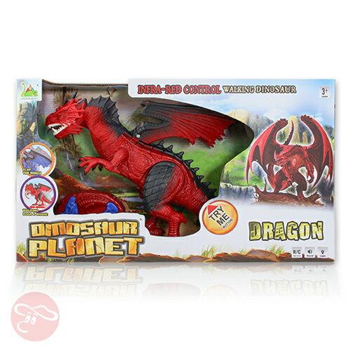~瑪琍歐玩具~紅外線遙控恐龍^(紅^)