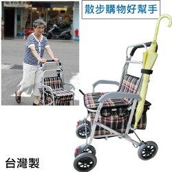 散步購物車 - 有扶手及手煞車 可煞車,累了可坐下休息,散步購物好輕鬆,銀髮族、老人用品 外銷日本款 超時尚 台灣製 [ZHTW1793-902A]