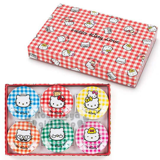 〔小禮堂〕Hello Kitty 美耐皿小菜碟~迷你.一組6入.家人們.紅白格紋盒裝~以愛