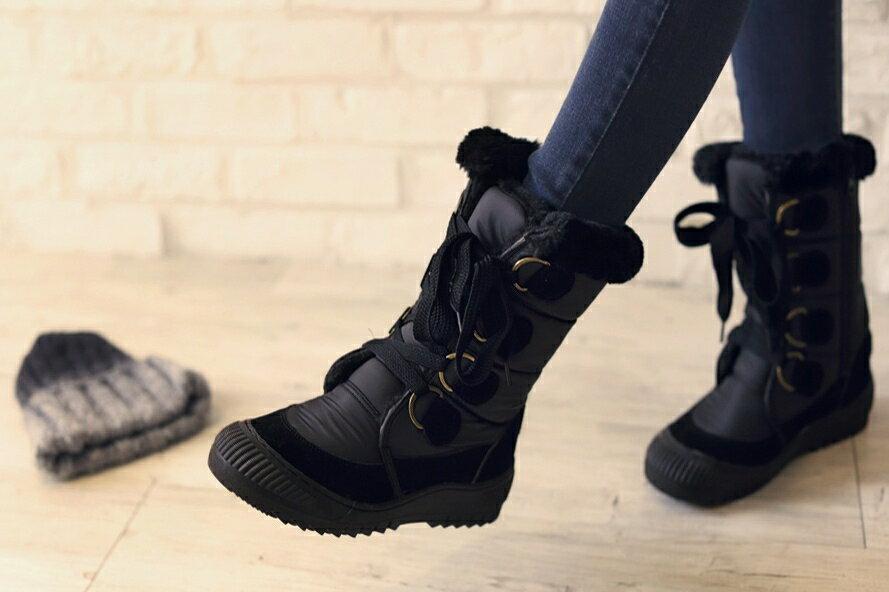 正韓直送 滑布+厚絨毛 綁帶 膠底雪地中統靴 (黑色)
