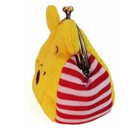維尼頭型夾扣式絨毛零錢包 日貨 小包 pooh 正版授權J00010132