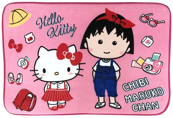 真愛日本:【真愛日本】17120100012聯名地墊-KTx小丸子日常粉櫻桃小丸子三麗鷗kitty凱蒂貓腳踏墊