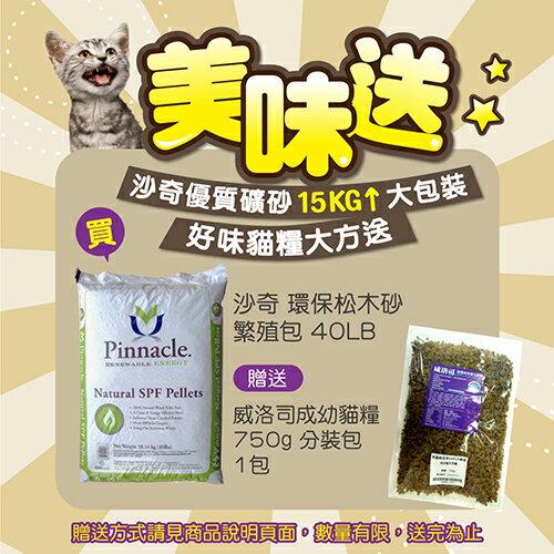 【美味送】沙奇 天然環保松木砂-繁殖包-40LB/磅(約18kg)-特價480元【送威洛司貓糧分裝包,免運費】(Z10610015)