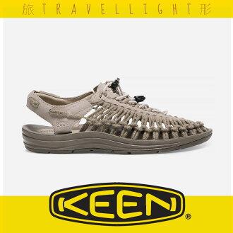 【KEEN】UNEEK LEATHER 女戶外織帶涼鞋 淺灰色 1017882 健行 溯溪 海灘 戶外 露營 Travellight旅形