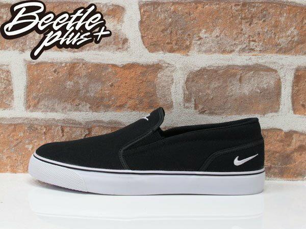 女鞋 BEETLE PLUS 全新 現貨 NIKE TOKI SLIP CANVAS 全黑 黑白 刺繡 懶人鞋 白勾 724770-010 D-449 0