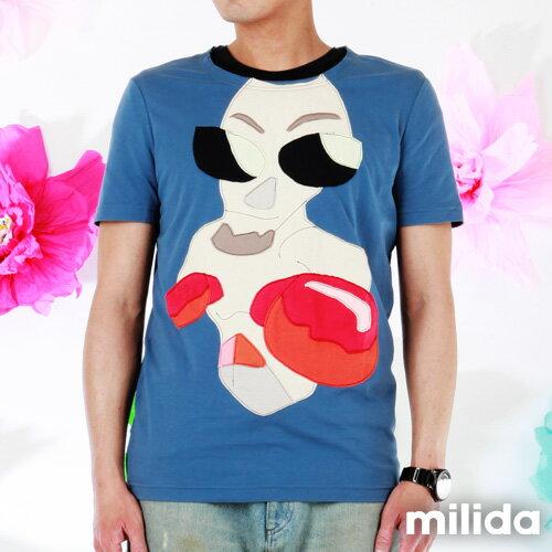 【Milida,全店七折免運】男生款-舒適圓領拼貼T恤 1