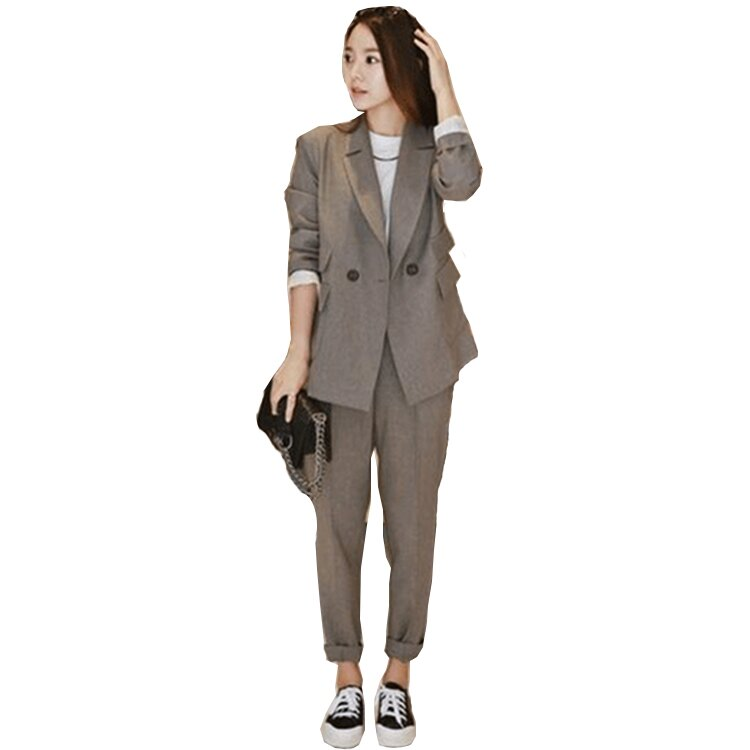 西裝套裝西裝外套+長褲(兩件套)-時尚休閒純色百搭女西服2色73xs2【獨家進口】【米蘭精品】