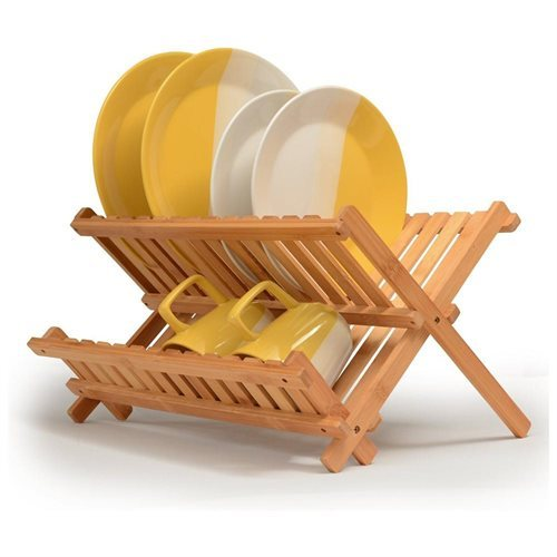 Bambusi Natural Bamboo Foldable Dish Drying Rack for Holding Plates and Glasses ff8c5ae3260f008c4050c830f0a763ae