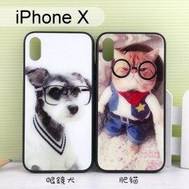 彩繪玻璃保護殼iPhoneX(5.8吋)眼鏡犬肥貓