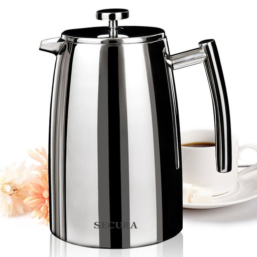 Secura 1500ML French Press Coffee Maker, 50-Ounce, Stainless Steel 18/10 SFP-50DSC, Extra Stainless 35d4876bb671a0e38463ba70ef7ea997