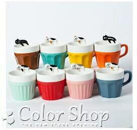 創意馬克杯簡約杯子陶瓷咖啡杯卡通酣睡貓水杯帶蓋勺牛奶杯貓爪杯 【交換禮物】