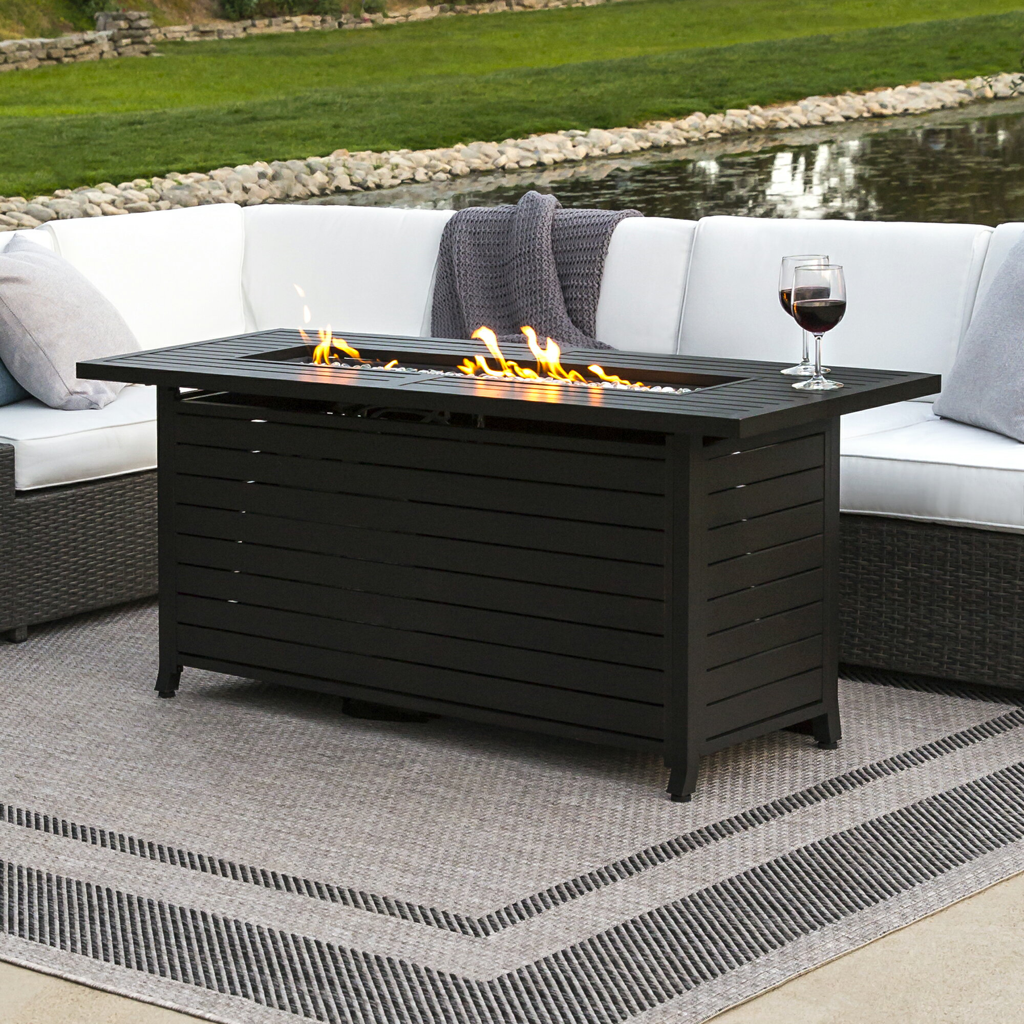 Best Choice Products 57in Rectangular Extruded Aluminum Gas Fire Pit Table  W/ Cover And Glass