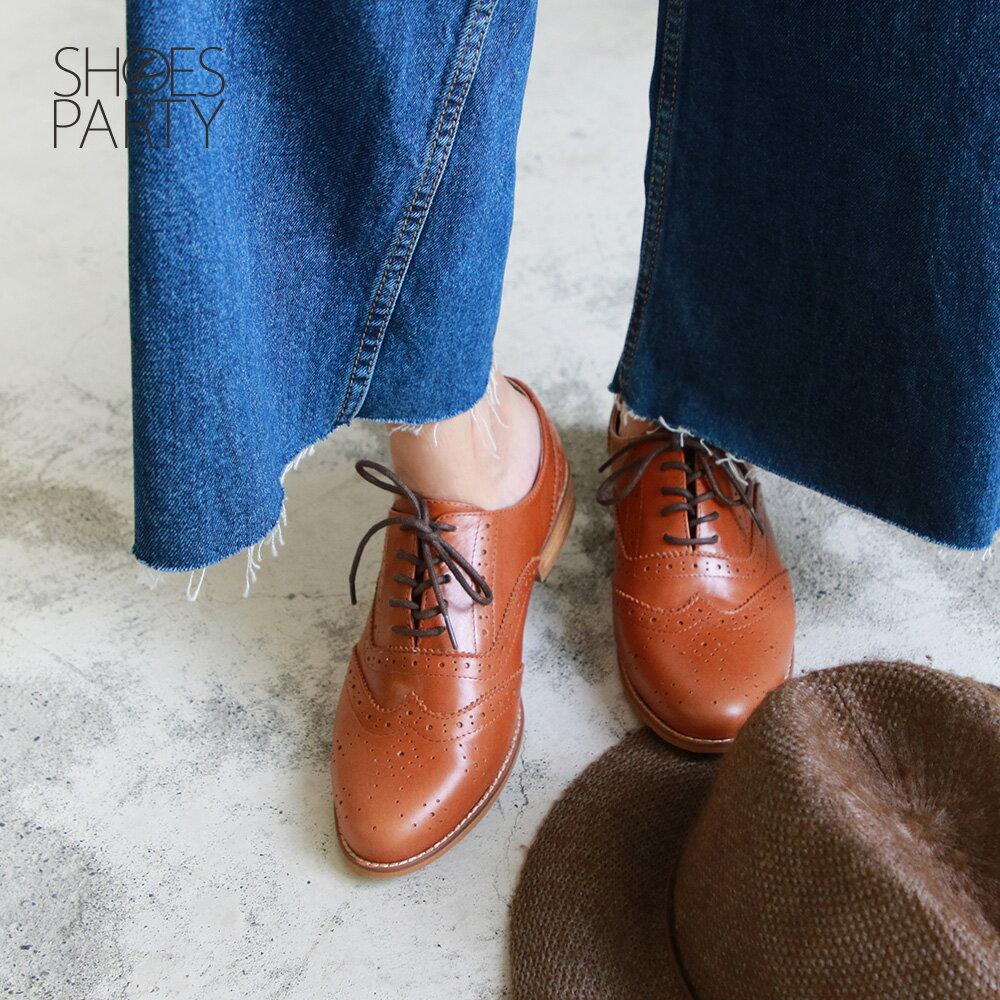 【C2-19525L】外尖內圓-英倫風綁帶真皮牛津鞋_Shoes Party 2