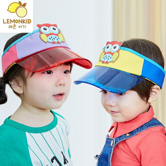 Lemonkid◆可愛貓頭鷹糖果色拚色好視線透明帽沿兒童空頂帽