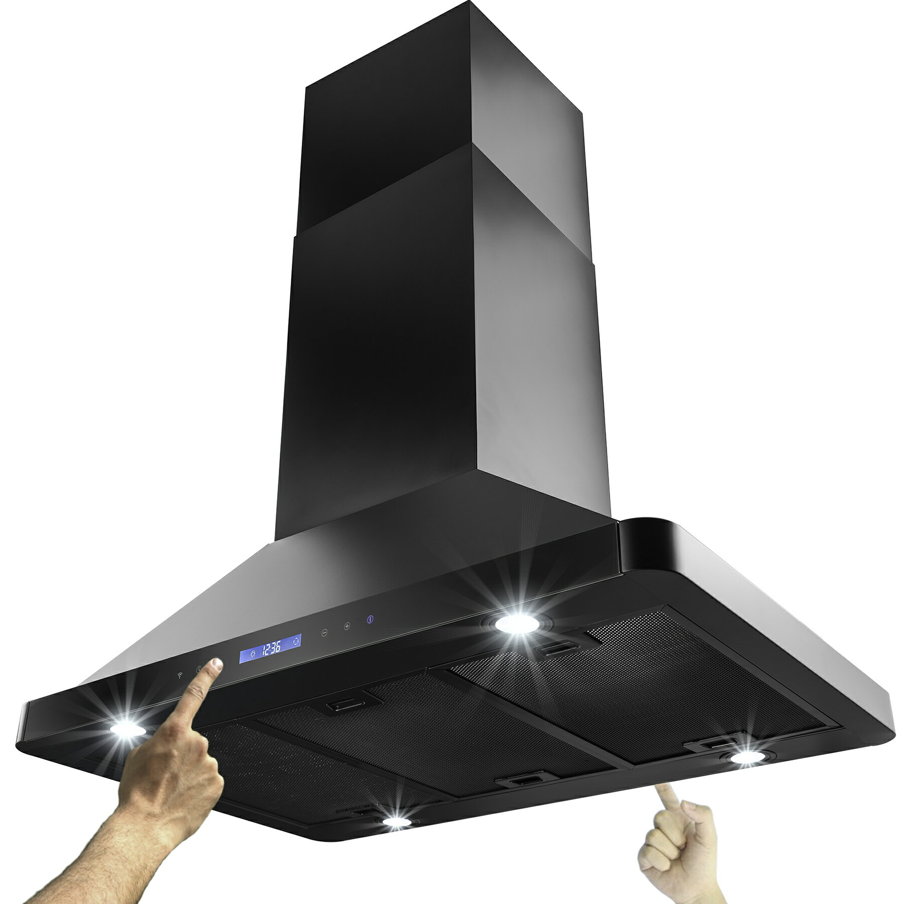 "AKDY 36"" Island Mount Black Finish Stainless Steel Kitchen Vent Dual Side Touch Control Range Hood w. R 0"