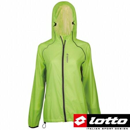 【巷子屋】義大利第一品牌-LOTTO樂得 女款防潑水抗UV慢跑防風運動外套 [0774] 螢光黃 超值價$398