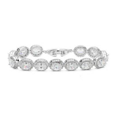 純銀手鍊 鍍白金鑲鑽手環 ~端莊典雅 情人節生日 女飾品4色73cv35~ ~~米蘭 ~