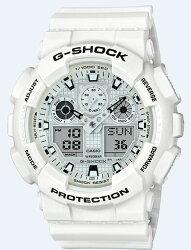 CASIO 卡西歐 G SHOCK 白色主題雙顯時尚腕錶 GA-100MW-7A 51.2mm