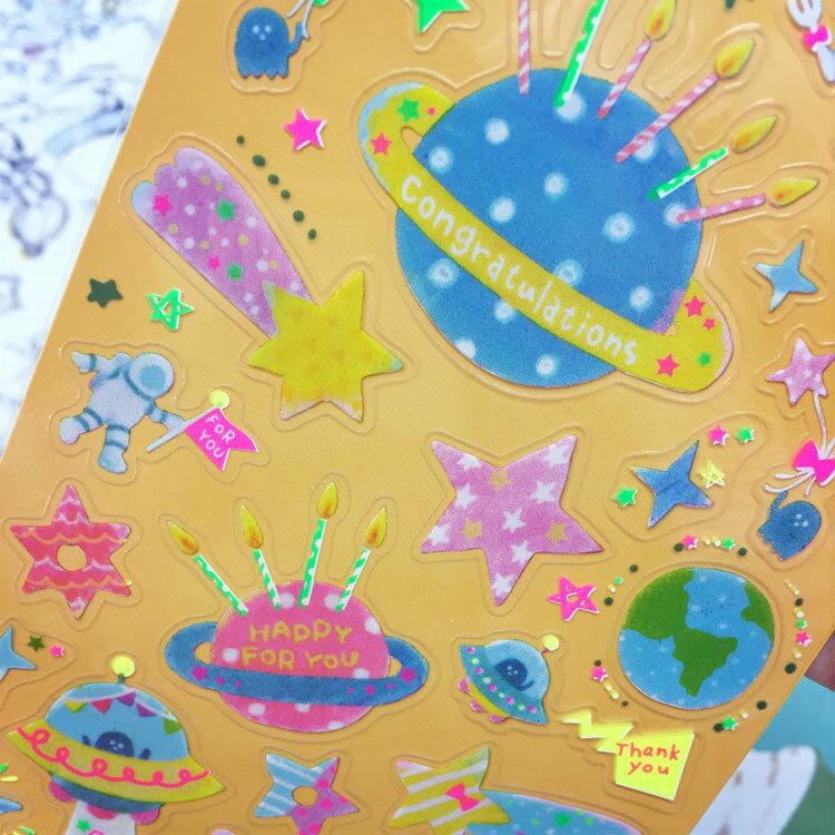 PGS7 日本卡通系列商品 - 宇宙 派對 螢光 貼紙 裝飾 卡片 手帳 Planet 太空【SHT6382】