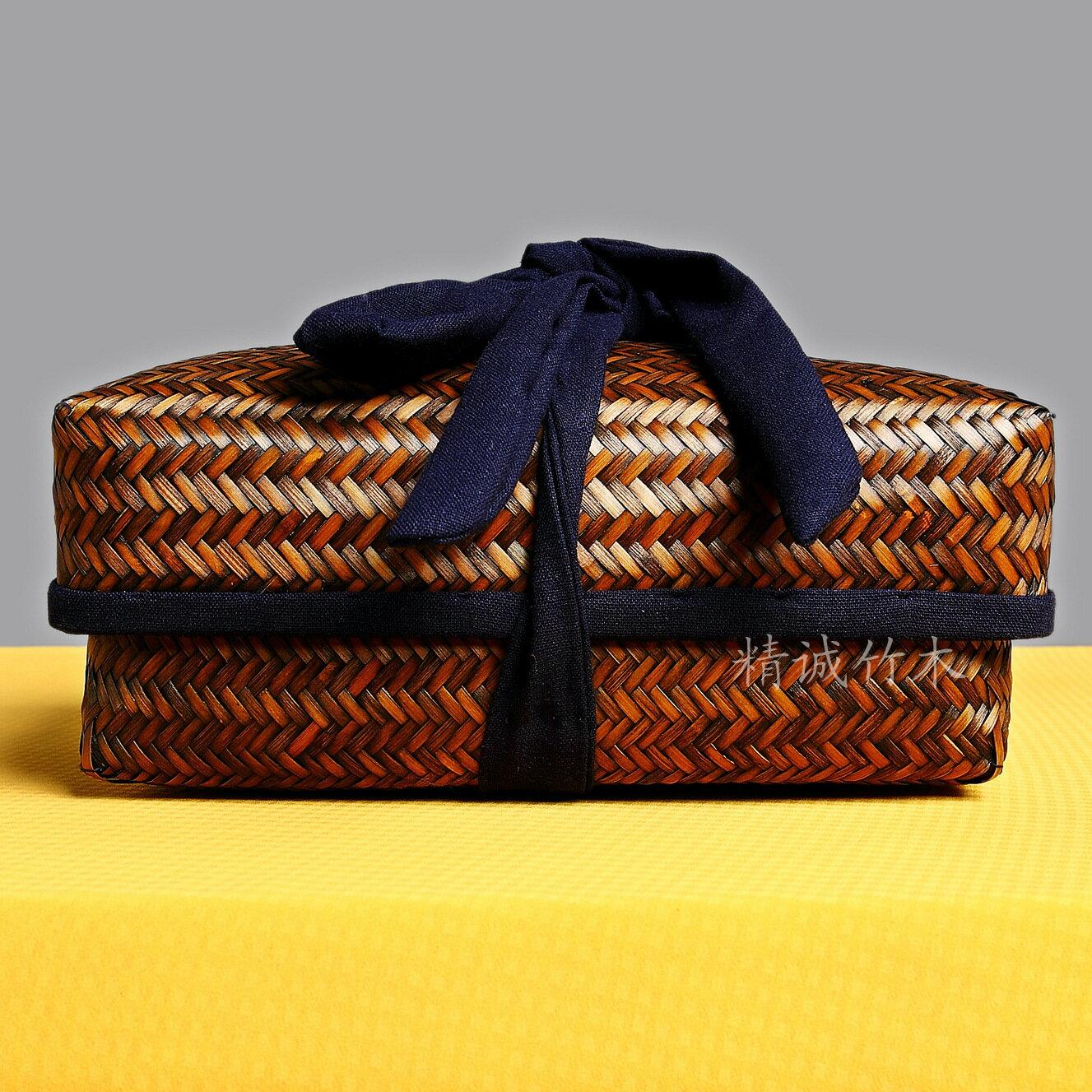 竹編茶具收納盒 禮品食品筐 戶外野餐籃