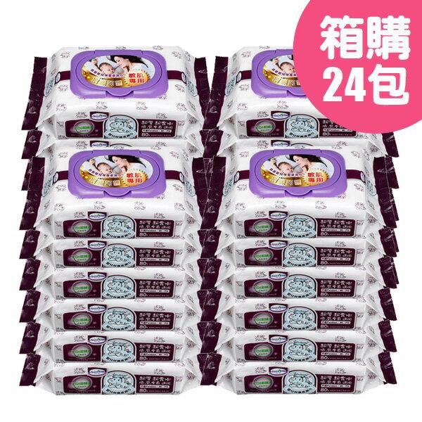 Baan 貝恩 紫色EDI嬰兒保養柔濕巾80抽(1包) x24包【悅兒園婦幼生活館】