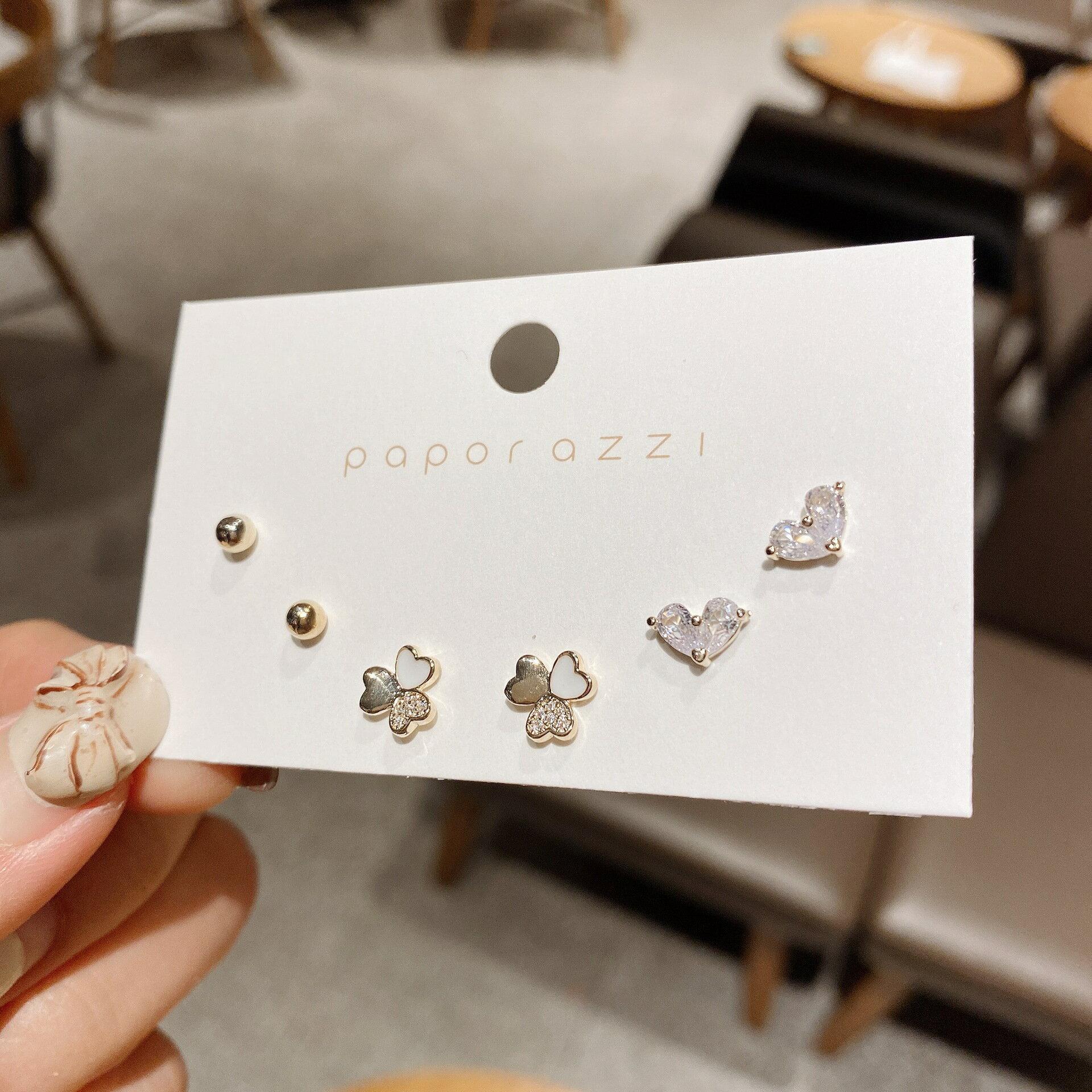 韓國ins心形鋯石小巧耳環女 三瓣花多對套裝耳釘s925銀針星期耳釘